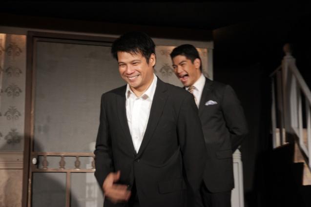 Yul Servo (Biff) takes his bow behind him is Ricardo Magno (Happy). PAHIMAKAS SA ISANG AHENTE (DEATH OF A SALESMAN) of Tanghalang Pilipino runs from September 26 to October 19, 2014 at the Tanghalang Huseng Batute Theater, CCP. Photo by Jude Bautista