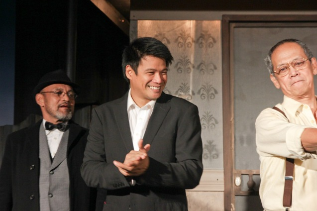 from left: Dido Dela Paz (Charley), Yul Servo (Biff) and Nanding Josef (Willy). PAHIMAKAS SA ISANG AHENTE (DEATH OF A SALESMAN) of Tanghalang Pilipino runs from September 26 to October 19, 2014 at the Tanghalang Huseng Batute Theater, CCP. Photo by Jude Bautista