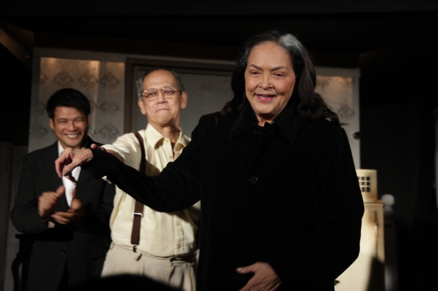 from right: Gina Pareño (Linda), Nanding Josef (Willy) and Yul Servo (Biff). PAHIMAKAS SA ISANG AHENTE (DEATH OF A SALESMAN) of Tanghalang Pilipino runs from September 26 to October 19, 2014 at the Tanghalang Huseng Batute Theater, CCP. Photo by Jude Bautista