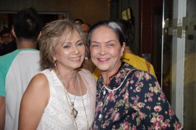 from left: Celeste Legaspi Congratulates Gina Pareño (Linda). PAHIMAKAS SA ISANG AHENTE (DEATH OF A SALESMAN) of Tanghalang Pilipino runs from September 26 to October 19, 2014 at the Tanghalang Huseng Batute Theater, CCP. Photo by Jude Bautista