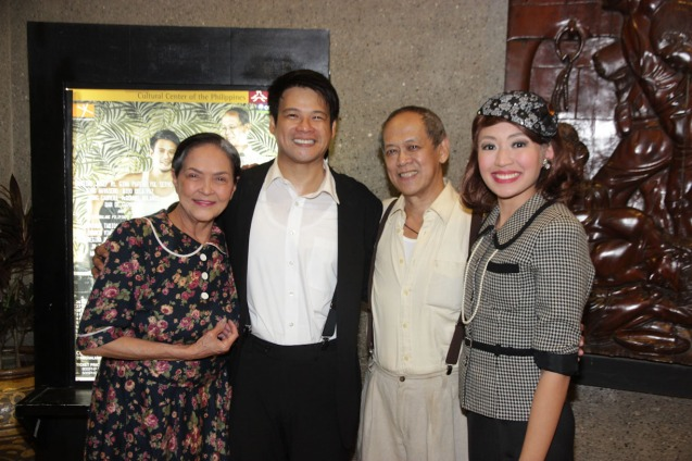 from left: Gina Pareño (Linda), Yul Servo (Biff), Nanding Josef (Willy) and Regina De Vera (Ms Forsythe). PAHIMAKAS SA ISANG AHENTE (DEATH OF A SALESMAN) of Tanghalang Pilipino runs from September 26 to October 19, 2014 at the Tanghalang Huseng Batute Theater, CCP. Photo by Jude Bautista