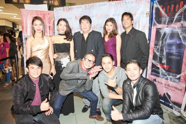 Standing from left Glea Burbano (Fern), China Roces (Robina), Romy Suzara, Marga Yabes (Clarissa) & Alvin Anson (Cong. Calipes) foreground left Mavi Lozano (Marcus), Hero Bautista (Direk Allan G. Pangalan), Kevin Rivas (Rain) and David Karell (Xander). Catch the HORROR PLUS Film Fest from October 29-Nov.14, 2014 at SM Cinemas. Photo by Jude Bautista