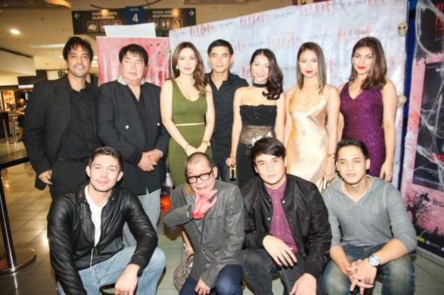 foreground from left: David Karell (Xander), Hero Bautista (Direk Allan G. Pangalan), Mavi Lozano (Marcus), Kevin Rivas (Rain), standing from left: Alvin Anson (Cong. Calipes), Romy Suzara, Regine Angeles (Slavacion), Robert Kuan (Albert), China Roces (Robina), Glea Burbano (Fern) and Marga Yabes (Clarissa) of SIGAW SA HATINGGABI. Catch the HORROR PLUS Film Fest from October 29-Nov.14, 2014 at SM Cinemas. Photo by Jude Bautista