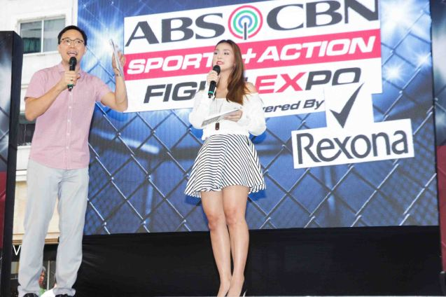 TJ Manotoc of THE SCORE, THE RUNDOWN and Jef Gaitan of BANANA NITE hosted the first ever ABS CBN Sports & Action- Rexona Fight Expo. It was held last November 8, 2014 at the Eastwood City Open Area. Photo by Jude Bautista