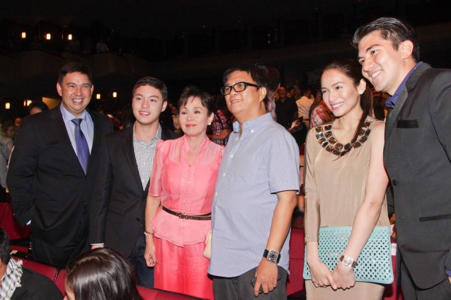 from left: from left: Sen. Ralph Recto, Ryan Christian Recto, Gov Vilma Santos, director Jeffrey Jeturian, Jenelyn Mercado and Luis Manzano. Catch the Cinemalaya film fest from July 26-August 4, 2013 at the CCP, Trinoma, GB3 and Alabang Town Center. Photo By Jude Bautista