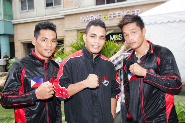 3 Champs from left: 'King Arthur' Villanueva- Int'l Super Flyweight Champ, : Genesis 'Azukal' Servania -WBO Intercontinental Super Bantamweight Champ and Jason 'El Niño' Pagara WBO Intl Light Welterweight. The first ever ABS CBN Sports & Action- Rexona Fight Expo was held last November 8, 2014 at the Eastwood City Open Area. Photo by Jude Bautista