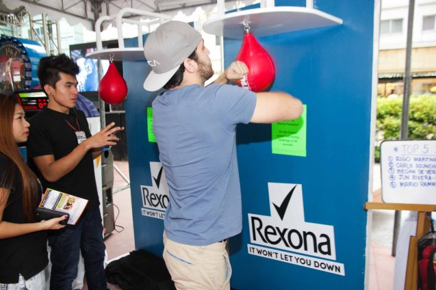 Pacquiao signed glove is prize in Speedball contest. The first ever ABS CBN Sports & Action- Rexona Fight Expo was held last November 8, 2014 at the Eastwood City Open Area. Photo by Jude Bautista