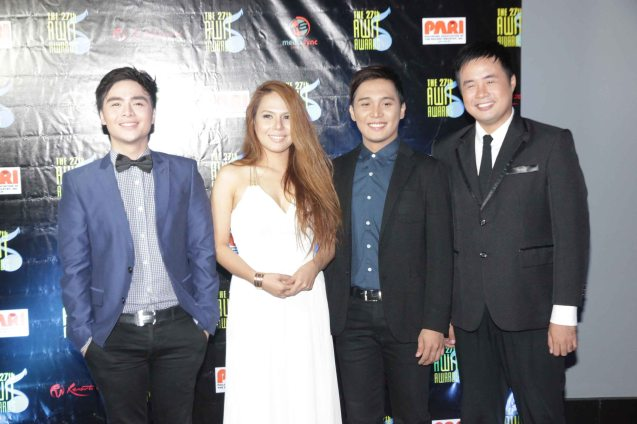 from left: Mark Mabasa, Lilibeth Garcia, JV Decena & Lucky Robles. The 27th Awit Awards was held at the Newport Performing Arts Theater, Resort's World Manila last December 12, 2014. Photo by Jude Bautista