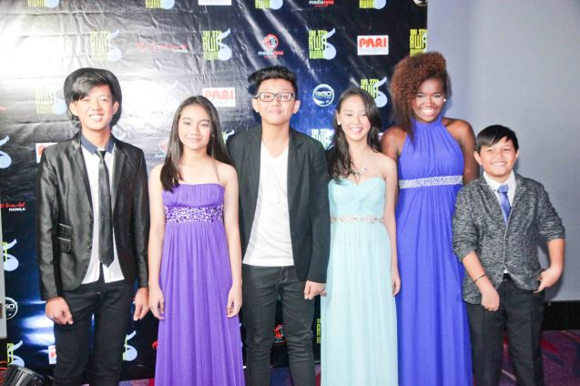 The Voice Kids, Philippines From right: Ton Ton Cabiles, Grace Alade, Angelique Trinidad, Zack Tabudlo, Allina Malaiba and Rommel Bautista. The 27th Awit Awards was held at the Newport Performing Arts Theater, Resort's World Manila last December 12, 2014. Photo by Jude Bautista