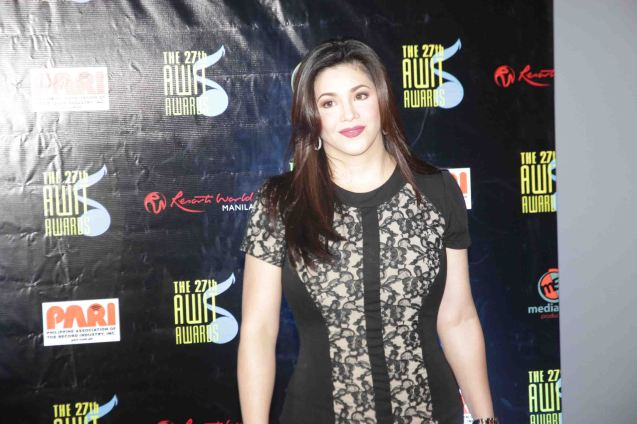 Regine Velasquez-Alcasid won for her song NATHANIEL, Best Inspirational / Religious Recording. The 27th Awit Awards was held at the Newport Performing Arts Theater, Resort's World Manila last December 12, 2014. Photo by Jude Bautista