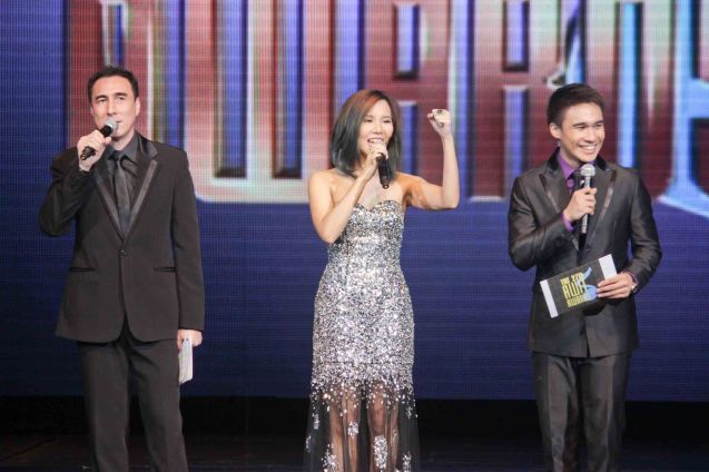 from left: Gino Padilla, Marion Aunor Best Performance by New Female Artist (IF YOU EVER CHANGE YOUR MIND) and Josh Padilla. The 27th Awit Awards was held at the Newport Performing Arts Theater, Resort's World Manila last December 12, 2014. Photo by Jude Bautista