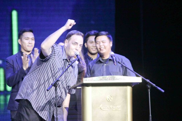 Eric Perlas & Macoy Manuel earned Best Engineered Recording. The 27th Awit Awards was held at the Newport Performing Arts Theater, Resort's World Manila last December 12, 2014. Photo by Jude Bautista