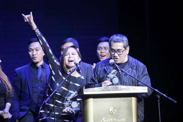 Sitti and Jungee Marcelo pick up Best World Music. The 27th Awit Awards was held at the Newport Performing Arts Theater, Resort's World Manila last December 12, 2014. Photo by Jude Bautista