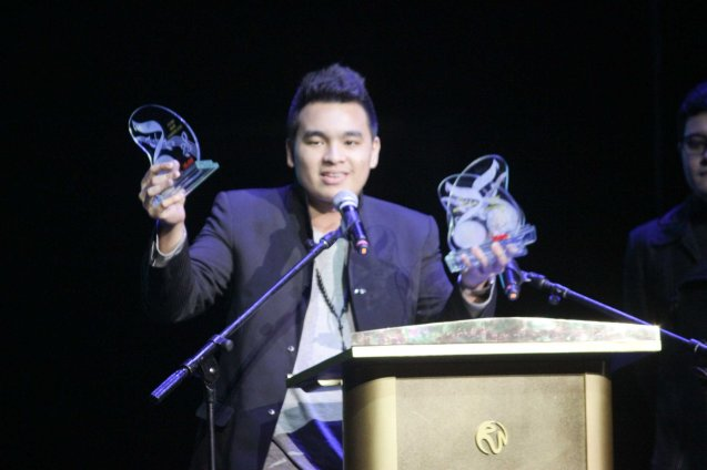 Composer/Lyricist Thyro Alfaro received Sarah Geronimo's Best R&B Recording award for IKOT IKOT. The 27th Awit Awards was held at the Newport Performing Arts Theater, Resort's World Manila last December 12, 2014. Photo by Jude Bautista