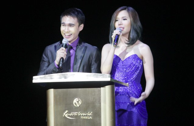 Hosts Josh Padilla and Marion Aunor. The 27th Awit Awards was held at the Newport Performing Arts Theater, Resort's World Manila last December 12, 2014. Photo by Jude Bautista