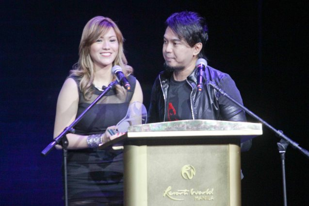 Rey Cantong and Kaye Malana-Cantong of musical duo Six Part Invention. Their song TWO STEPS BEHIND is My Music Store Most Downloaded song of 2013. The 27th Awit Awards was held at the Newport Performing Arts Theater, Resort's World Manila last December 12, 2014. Photo by Jude Bautista