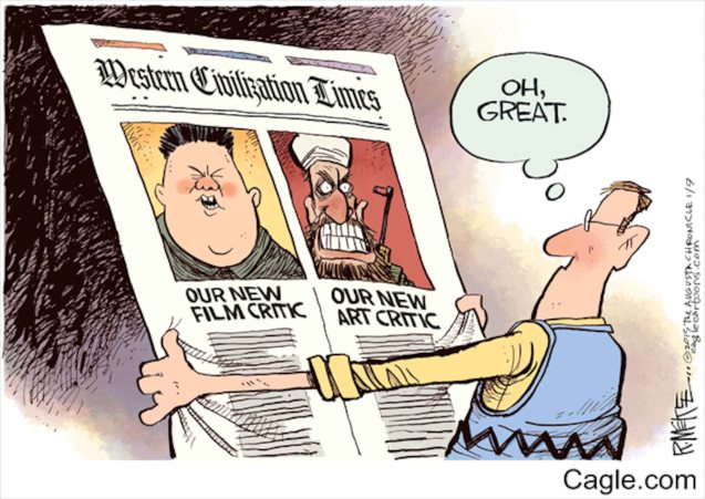 Daryl Cagle ‏@dcagle Nice Rick McKee #CharlieHebdo cartoon from our http://cagle.com   collections  #JeSuisCharlie #Sony #sonyhack https://twitter.com/dcagle/status/553371039271378944/photo/1