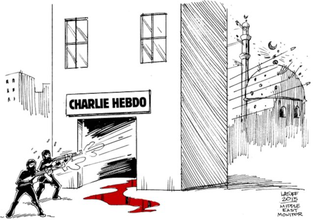 Carlos Latuff ‏@LatuffCartoons Please, RT! #CharlieHebdo attack has another victim! Via @MiddleEastMnt #ParisShooting https://twitter.com/LatuffCartoons/status/552847548776742914/photo/1