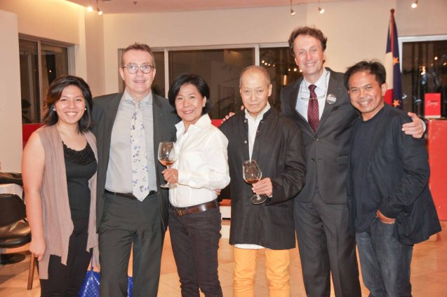 2nd from right: Amb Gilles Garachon from right: French Audio Visual Attaché Martin Macalintal, AF Pres. Bernardo Sim, AF Board Member Cecile Mauricio, AF Exec Dir Patrick Deyvant and French Emb Press Attache Camille Conde. A candle lighting ceremony for the victims of the Charlie Hebdo attack was held at Alliance Francaise de Manille last Januarry 14, 2015. Photo by Jude Bautista