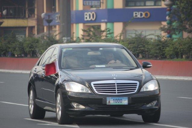 Diplomatic car hurries to Malacañang reception, Plaza Dilao, Quirino Ave, Paco Manila last January 16, 2015. Photo by Jude Bautista