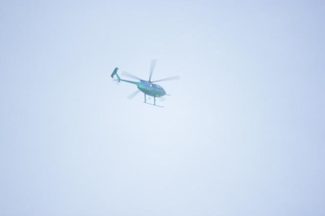 Chopper flies overhead, Quirino Ave, Paco Manila last January 16, 2015. Photo by Jude Bautista