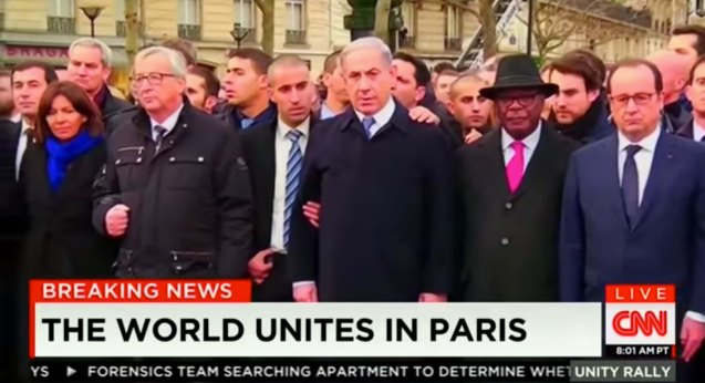 from right: French Pres. Francois Hollande, Malian President Ibrahim Boubacar Keita, Israeli Prime Minister Benjamin Netanyahu and European Commission chief Jean-Claude Juncker and Paris Mayor Anne Hidalgo. World Leaders were arm in arm during the PARIS UNITY RALLY last January 11, 2015.