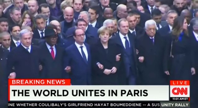 from L-R: Israeli Prime Minister Benjamin Netanyahu, Mali Pres. Ibrahim Boubacar Keita, French Pres. Francois Hollande, German Chancellor Angela Merkel, the EU Pres. Donald Tusk, Palestinian President Mahmoud Abbas and Queen Rania and King Abdullah II of Jordan. World Leaders were arm in arm during the PARIS UNITY RALLY last January 11, 2015.