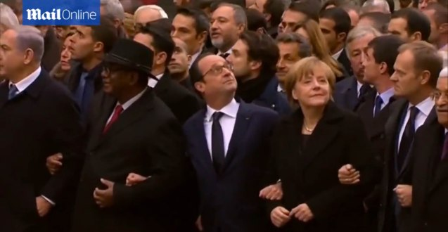 L-R Israeli Prime Minister Benjamin Netanyahu, Mali Pres. Ibrahim Boubacar Keita, French Pres. Francois Hollande, German Chancellor Angela Merkel, the EU Pres. Donald Tusk and Palestinian President Mahmoud Abbas. World Leaders were arm in arm during the PARIS UNITY RALLY last January 11, 2015.