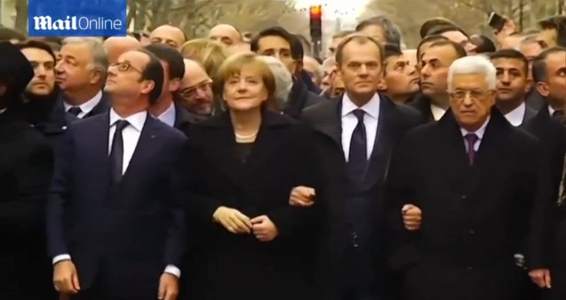 L-R French Pres. Francois Hollande, German Chancellor Angela Merkel, the EU Pres. Donald Tusk and Palestinian President Mahmoud Abbas. World Leaders were arm in arm during the PARIS UNITY RALLY last January 11, 2015.
