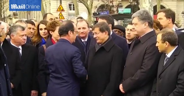 French Pres. Francois Hollande thanks World Leaders who were arm in arm during the PARIS UNITY RALLY last January 11, 2015.