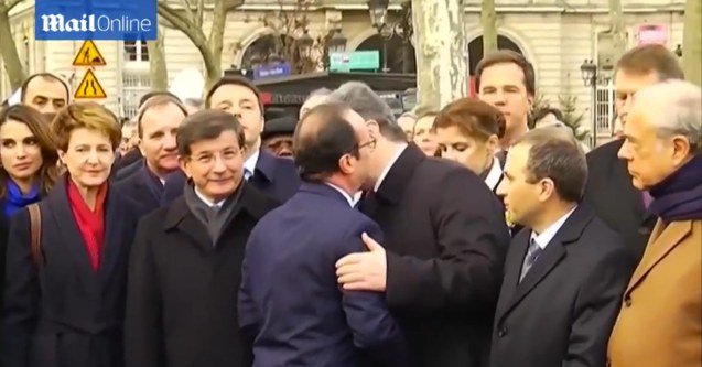 French Pres. Francois Hollande thanks Ukrainian President Petro Poroshenko w beso. World Leaders were arm in arm during the PARIS UNITY RALLY last January 11, 2015.