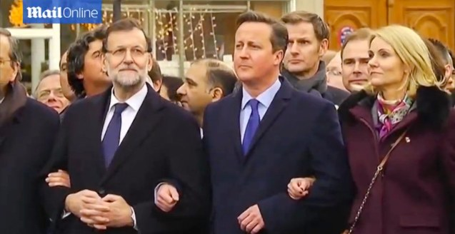From left: Spanish Prime Minister Mariano Rajoy, British Prime Minister David Cameron and Denmark's Prime Minister Helle Thorning-Schmidt. World Leaders were arm in arm during the PARIS UNITY RALLY last January 11, 2015.