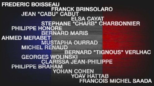 List of fallen from Charlie Hebdo attack.
