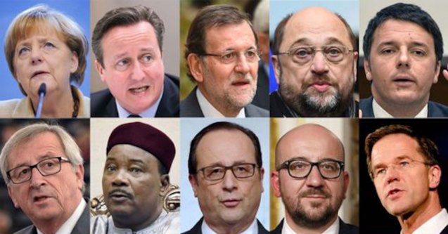 Top row L-R: German Chancellor Angela Merkel, British Prime Minister David Cameron, Spanish Prime Minister Mariano Rajoy, EU parliament president Martin Schulz, Italian Prime Minister Matteo Renzi, bottom row L-R European Commission chief Jean-Claude Juncker, Niger's President Mahamadou Issoufou, French President Francois Hollande, Belgian Prime Minister Charles Michel, Dutch Prime Minister Mark Rutte,--Political leaders who expressed support for the Paris Unity rally last January 11, 2015.