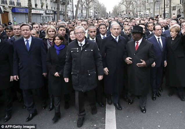 L-R: British Prime Minister David Cameron, Paris Mayor Anne Hidalgo, Denmark's Prime Minister Helle Thorning-Schmidt, European Commission chief Jean-Claude Juncker , Israeli Prime Minister Benjamin Netanyahu, Mali Pres. Ibrahim Boubacar Keita, French Pre. Francois Hollande, German Chancellor Angela Merkel. World Leaders were arm in arm during the PARIS UNITY RALLY last January 11, 2015.