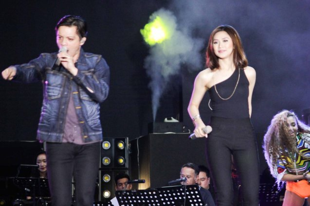 The Voice coaches Bamboo & Sarah Geronimo. FUSION the 1st Phil. Music Festival was held January 30, 2015 just 5 days after the Mamasapano Clash. Photo by Jude Bautista