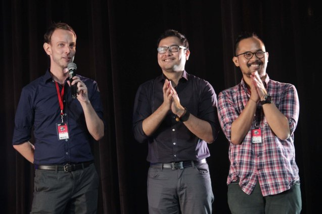 from left: FRINGE MANILA's Executive Producer Brett McCallum, FRINGE Univ Prog Dir. Eric Villanueva Dela Cruz & Festival Dir. Andrei Pamintuan. FRINGE multi arts festival will run from February 12–March 1, 2015 in CCP, College of St Benilde and many other venues. Photo was taken at the CSB SDA Theater by Jude Bautista.