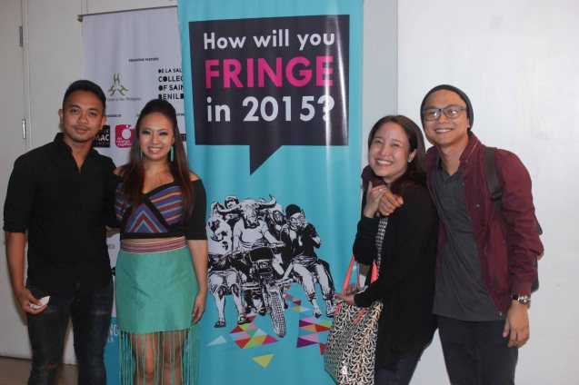 From right: Cinemalaya Best Supporting Actor Awardee Nico Manalo, Bea Garcia, Kakki Teodoro and Nar Cabico. FRINGE multi arts festival will run from February 12–March 1, 2015 in CCP, College of St Benilde and many other venues. Photo was taken at the CSB SDA Theater by Jude Bautista.