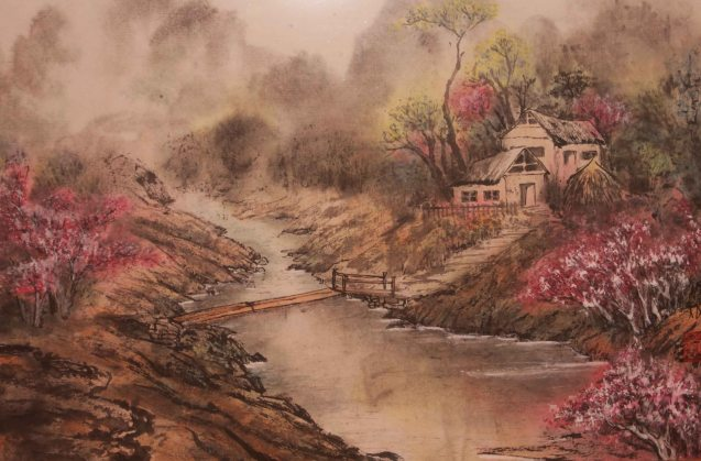 Living By the Lake 1 by Nei Nei Hui Chun 13.5 x 17 inches. This is one of many works you can see at the Chinese painting Exhibit in Shang Plaza mall from February 12-20, 2015.