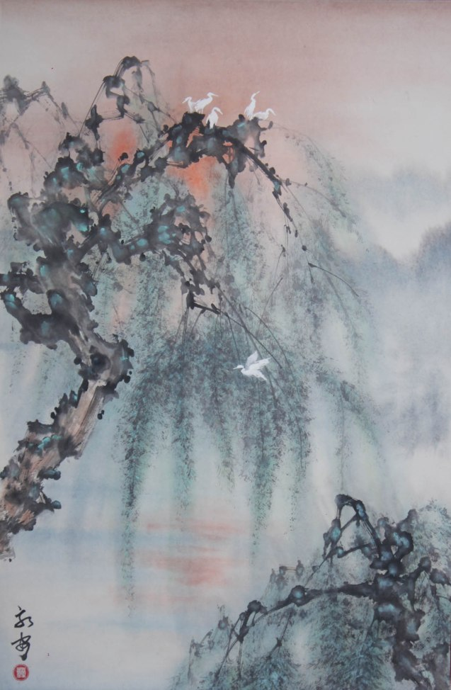 "At the Break of Dawn by Ceasar Cheng 27""x18"". This is one of many works you can see at the Chinese painting Exhibit in Shang Plaza mall from February 12-20, 2015."