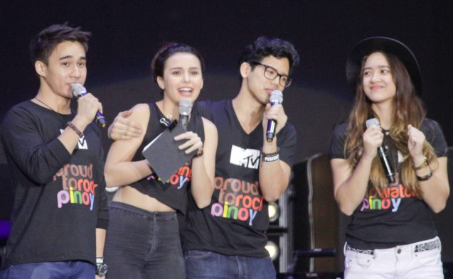 MTV Pinoy VJ's from left: Josh Padilla, Yassi Pressman, Aryanna Epperson and Kito Romualdez. FUSION the 1st Phil. Music Festival was held January 30, 2015 just 5 days after the Mamasapano Clash. Photo by Jude Bautista