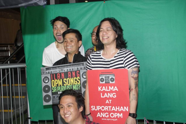2nd from left OPM Pres. Ogie poses w Sandwich from left: Diego Castillo, Mike Dizon, Raimund Marasigan and bottom Mong Alcaraz. PALAKASIN ANG OPM COLLAB Sessions first 12-hour OPM festival was held at the Bonifacio High Street Amphitheatre, Bonifacio Global City Taguig last March 14, 2015. Photo by Jude Bautista