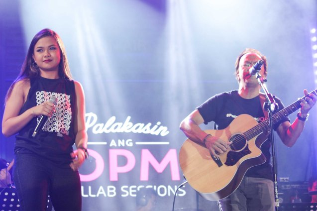 Lara Maigue  & Noel Cabangon. PALAKASIN ANG OPM COLLAB Sessions first 12-hour OPM festival was held at the Bonifacio High Street Amphitheatre, Bonifacio Global City Taguig last March 14, 2015. Photo by Jude Bautista