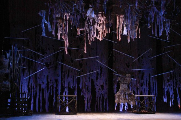 The apocalyptic set of HARING LEAR. Studio Connection's HARING LEAR can be seen at the CSB SDA Theater from February 27 to March 8, 2015. HARING LEAR is also part of the FRINGE MANILA Multi arts festival. Photo by Jude Bautista