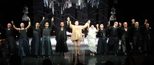 CURTAIN CALL from left: Garry Lim (Gloster), Rhenwyn Gabalonzo (Edmundo), McDonnel Bolanos (Hari ng Francia), Jason Barcial (Duke ng Burgonia), Buddy Caramat (Goneril), Bernardo Bernardo (Haring Lear), Abner Delina Jr (Cordelia/Lakayo), Renante Bustamante (Duke ng albanya), Jeff Hernandez (Duke ng Cornualles), George de Jesus III (Regan), Lambert de Jesus (Kent) and Jess Evardone (Matandang Lalaki/Duktor). Studio Connection's HARING LEAR can be seen at the CSB SDA Theater from February 27 to March 8, 2015. HARING LEAR is also part of the FRINGE MANILA Multi arts festival. Photo by Jude Bautista