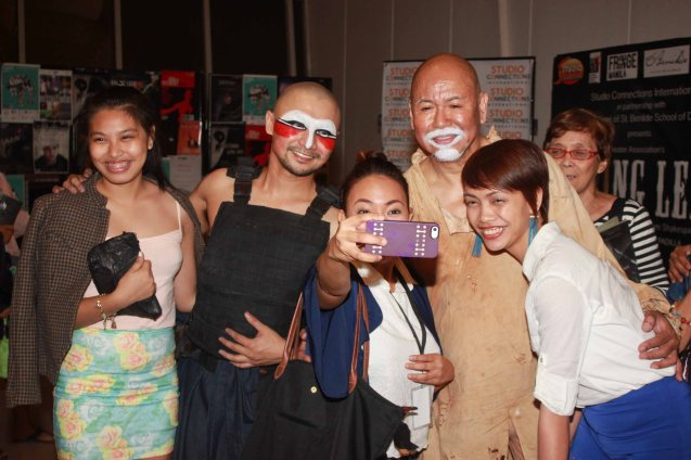 from right: PETA Playwright & Poet Anj Heruela, Bernardo Bernardo (Haring Lear), Kakki Teodoro , Rhenwyn Gabalonzo (Edmundo) & fan. Studio Connection's HARING LEAR can be seen at the CSB SDA Theater from February 27 to March 8, 2015. HARING LEAR is also part of the FRINGE MANILA Multi arts festival. Photo by Jude Bautista