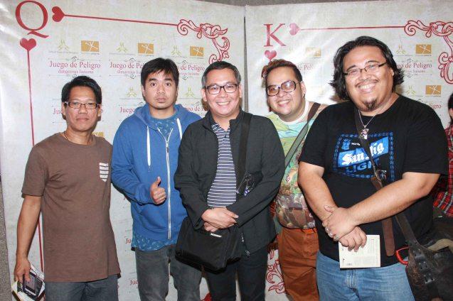 from left: Writer Arsenio Tan Liao, Gloc9, Director & Set Designer Tuxqs Rutaquio, Dennis Sebastian and Emman Dela Cruz. Catch Tanghalang Pilipino's adaptation of DANGEROUS LIASONS—JUEGO DE PELIGRO at CCP until March 8, 2015; Costumes by James Reyes. Photo by Jude Bautista
