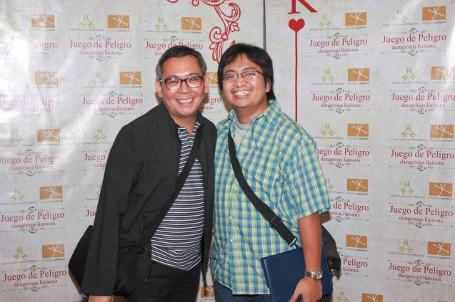 from left: Director & Set Designer Tuxqs Rutaquio & MANHID Sound designer TJ Ramos. Catch Tanghalang Pilipino's adaptation of DANGEROUS LIASONS—JUEGO DE PELIGRO at CCP until March 8, 2015; Costumes by James Reyes. Photo by Jude Bautista
