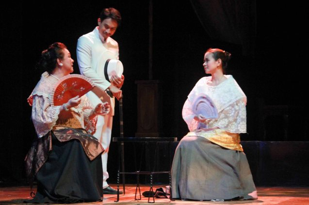 from left: Sherry Lara (Señora Remedios), Arnold Reyes (Señor Vicente) & LJ Reyes (Señora Teresa). Catch Tanghalang Pilipino's adaptation of DANGEROUS LIASONS—JUEGO DE PELIGRO at CCP until March 8, 2015; Costumes by James Reyes. Photo by Jude Bautista