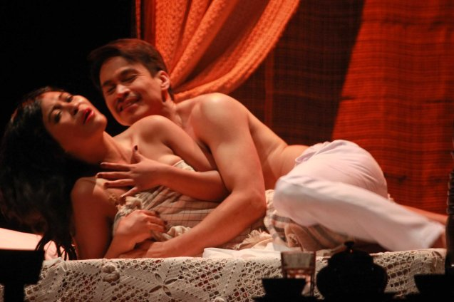 Lhorvie Nuevo (Elena) & Arnold Reyes (Señor Vicente). Tanghalang Pilipino's adaptation of DANGEROUS LIAISONS—JUEGO DE PELIGRO at CCP was a huge hit watch out for its next run; Costumes by James Reyes. Photo by Jude Bautista